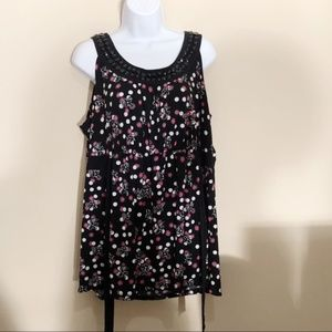 Style & Co Polka dot Floral Tank Too A1